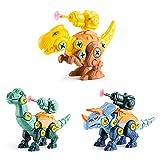 LotCow Take Apart Dinosaurier-Spielzeug für Kinder, 3 Stück Bauspielzeug-Set mit...