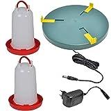 VOSS.eisfrei 2x6L Tränke + 30cm Heiz-und Wärmeplatte für Geflügelhaltung, Heizplatte,...