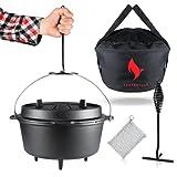 Eingebranntes Dutch Oven Set [5 Liter] - für gesellige Grill Abenteuer - BBQ Feuertopf...