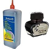 Pelikan 301168 - Tinte 4001 1000 ml brillantschwarz & 51 Tintenglas Billant Tinte 4001, 30...