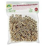 Lena 32005 Bastelset Buchstabenwürfel aus Holz, 300 Fädelperlen in Würfel...