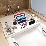 Ausziehbar Badewannenablage, Verstellbarer Hohe Kapazität Badewannentablett aus Bambus...