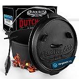 Black Bull BBQ Dutch Oven Set [9L] – Eingebrannter Feuertopf aus Gusseisen mit Füßen &...