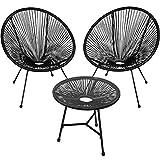 TecTake 800730 2er Set Acapulco Garten Stuhl mit Tisch, Lounge Sessel im Retro...
