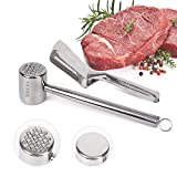 XREXS Fleischklopfer und Küchenzangen Set aus Edelstahl - Fleischhammer...