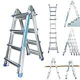 Worktekk® Profi 4/7/14 Teleskopleiter Leiter 14 Sprossen Aluleiter Mehrzweckleiter...