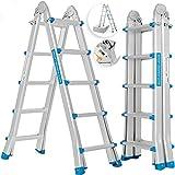 MASKO® Aluleiter Mehrzweckleiter 5,10m 4x5 Sprossen Teleskopleiter ✓...