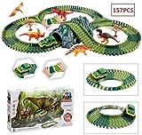 Mopoq Dinosaurier-Bahnen Spielzeug-Rennwagen-Flexible Track-Spielset 157Pcs Kinder Großes...