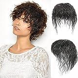 Perücken Haarperücke Natürliche flaumige menschliche Hair Topper mit Pony 3x4.7'Seide...
