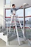 Euroline 3057606 Treppenleiter Stehleiter für Treppen ausziehbar Treppenfunktion, alu, 2...