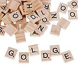 GOLDGE 100 Stück Scrabble Buchstaben Holz Buchstabe Fliesen zum Spielen, Lesen...