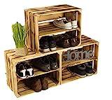 3 x Schuhschrank Schuhregal aus geflammten Holzkisten Schuhablage für 12 Paar...