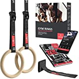Turnringe Holz Gym Rings + Türanker & Trainings-eBook – Olympische Gymnastik...