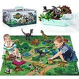 TEMI Dinosaurier Spielzeugfigur mit Aktivität Spielmatte & Bäume, pädagogisch...