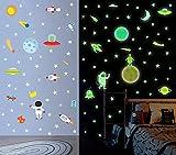 DIY Cartoon Leuchtsticker   Planeten Astronaut Rakete Fluoreszierend Aufkleber  ...