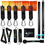 ZenOne Sports Fitnessband Resistance Bands mit Trainingsstange I 5 Fitnessbänder Tubes...