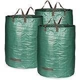 com-four® 3X Gartensack mit Tragegriffen - Faltbarer Gartenabfallsack XL -...