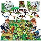 YUNKE Dinosaurier Spielzeug Set mit Aktivitätsspielmatte 31 x 27 Zoll & Bäume, 10 Stück...